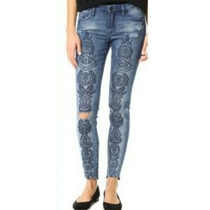 Blank NYC Embroidered Distressed Skinny Jeans 24